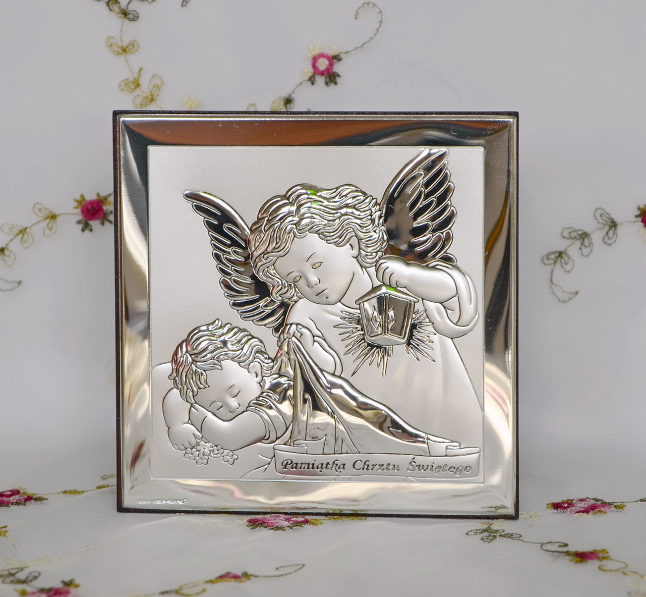 Obrazek Srebrny Aniol Stroz 12x12cm Z Wygrawerowanym Napisem